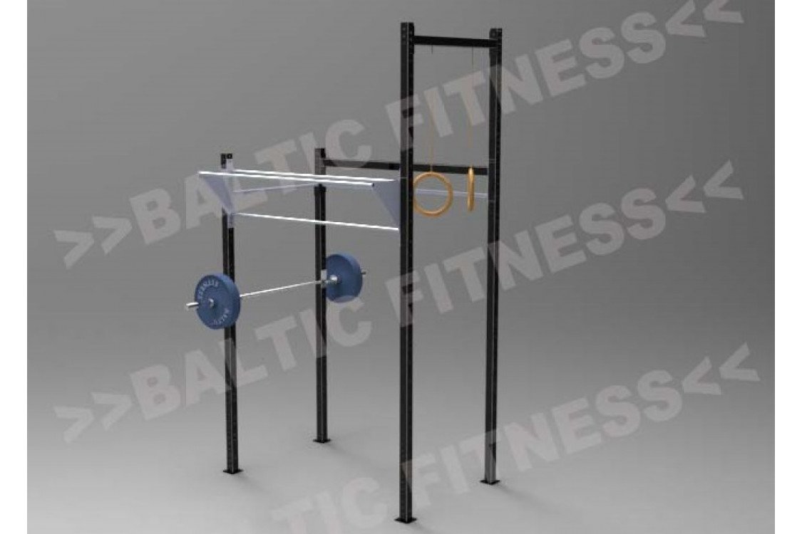 Outdoorgym with Squatstand and mounts for roman rings