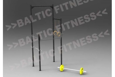 Outdoormgym with squatstand and mounts for roman rings and ropeclimbing